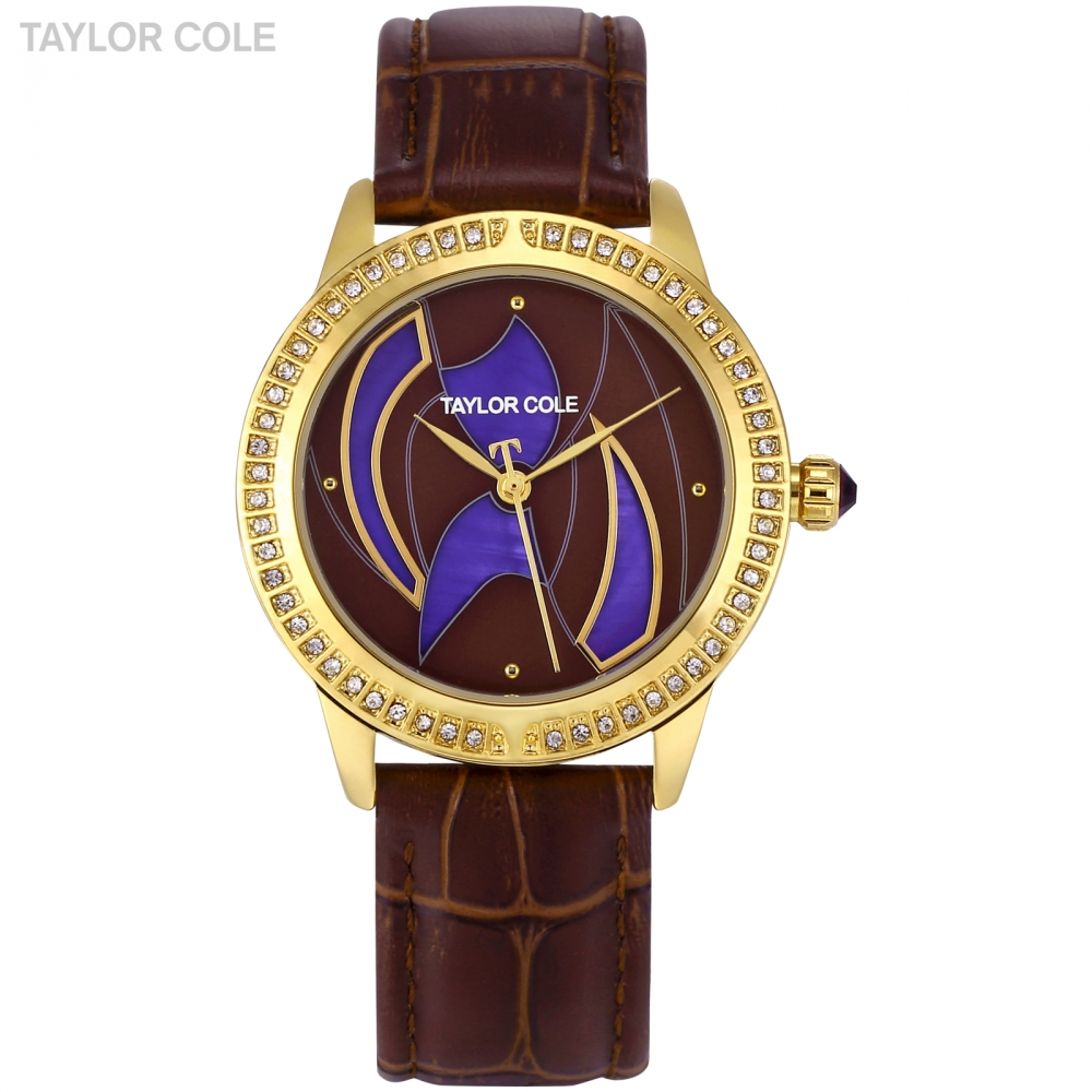 Taylor Cole Luxury Brand Fashion Design Crystal Dial Women Watches Brown Leather Band Ladies Watch Clock relogio feminino /TC122 taylor cole relogio tc013