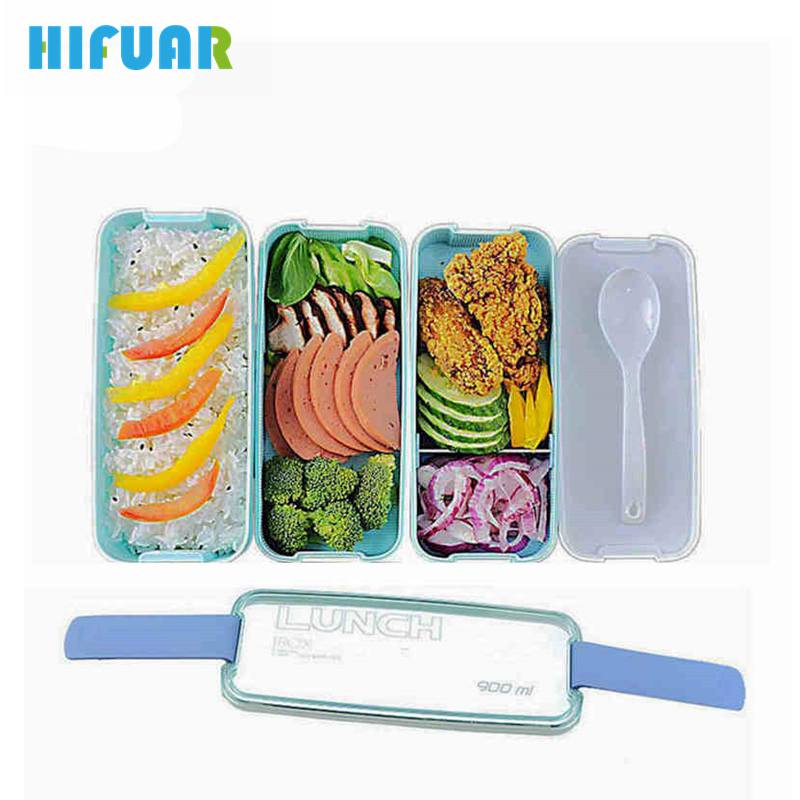 HIFUAR Lunch Box Microwave Food Container Compartments Lunch Bento Boxes School Lunch Box Kids Plastic Bento Box Set 2018 New