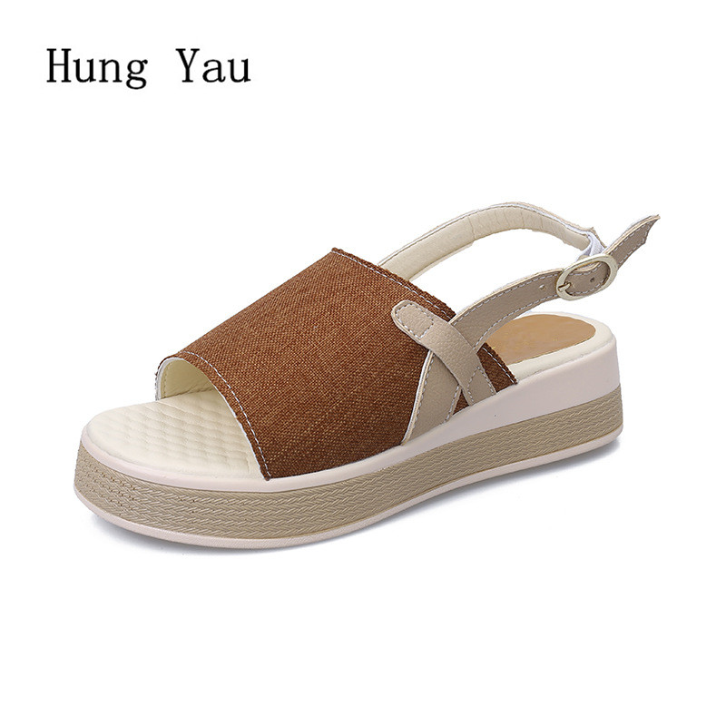 Women Sandals 2018 Summer Shoes Woman Flip Flops Wedges Slippers Fashion Buckle Strap Peep Toe Platform Female Slides Ladies 2018 summer style women sandals flips flops shoes woman wedges sandals fashion rivet crystal platform female slides ladies shoes