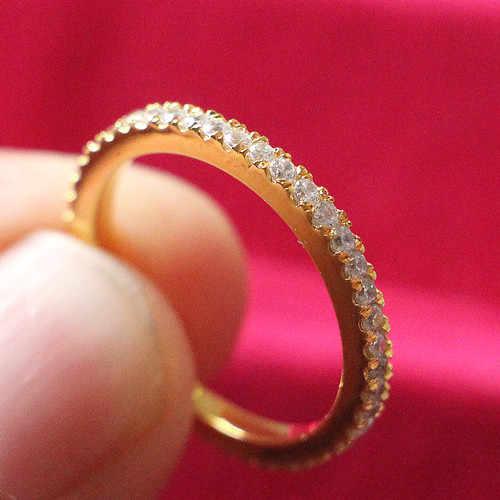 24 K żółte złoto pozłacane biżuteria zespół pół SONA symulacja diament Wedding Band pierścień ślub Sterling Silver Band PT950 duży rozmiar
