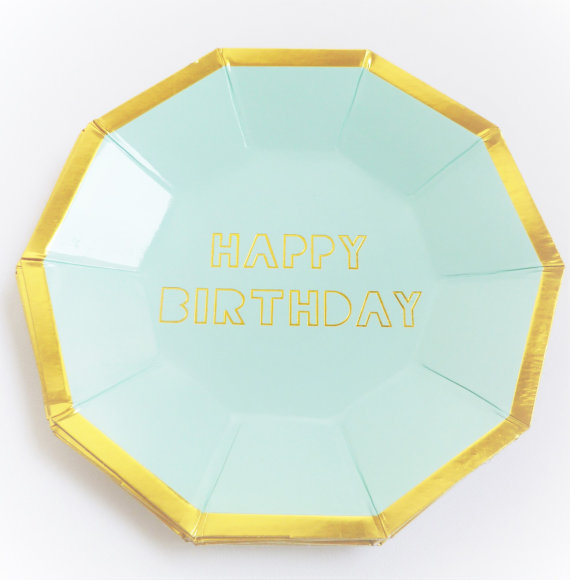Free Shipping 40pcs Mint and Gold foil Happy Birthday Paper Plates Hexagon Birthday Party First Birthday Boy Girl Metallic-in Disposable Party Tableware ...  sc 1 st  AliExpress.com & Free Shipping 40pcs Mint and Gold foil Happy Birthday Paper Plates ...