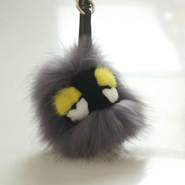Fashion Pom Pom small monster 100% real fur hair monster keychain fox fur bag pendant car key chain DIY  Free Shipping