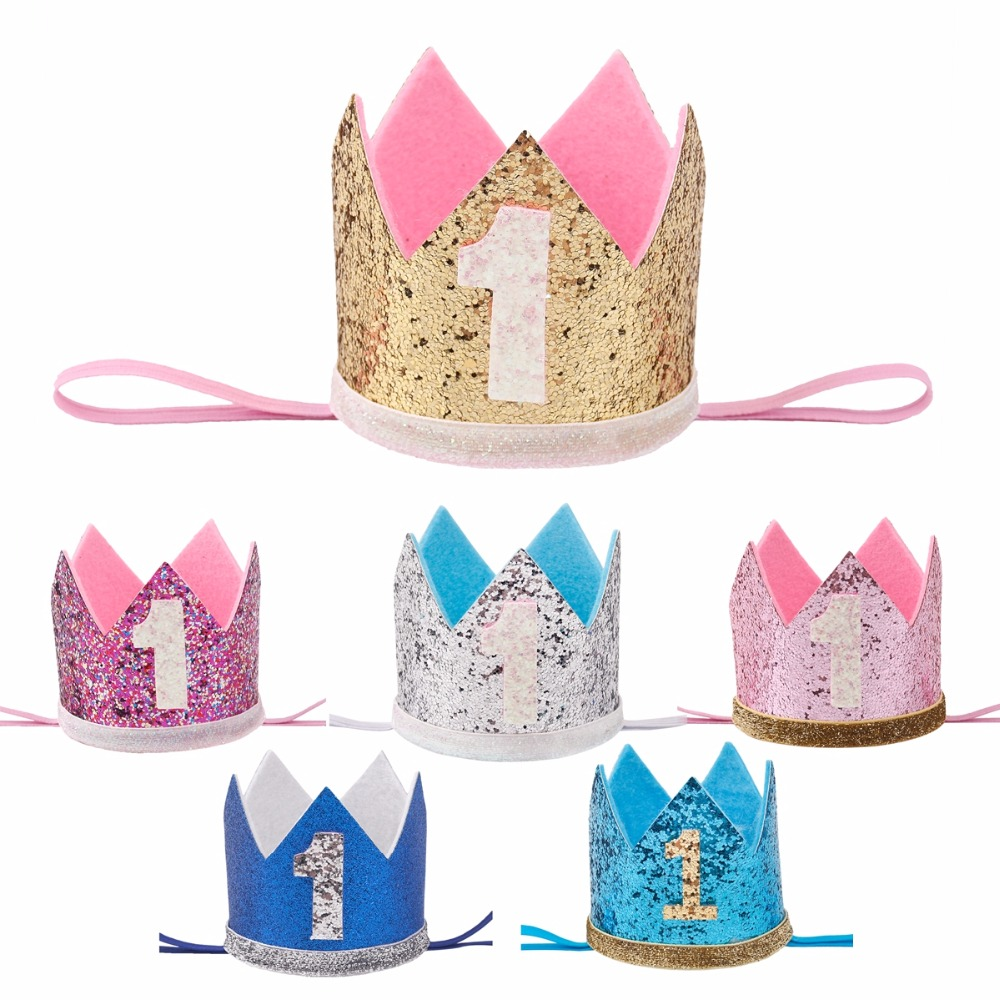 FENGRISE Baby Girl First Birthday Hat 1st 2nd 3rd Party Cap Pink Princess Crown Kids Favors Hair Accessories In Cake Decorating Supplies From