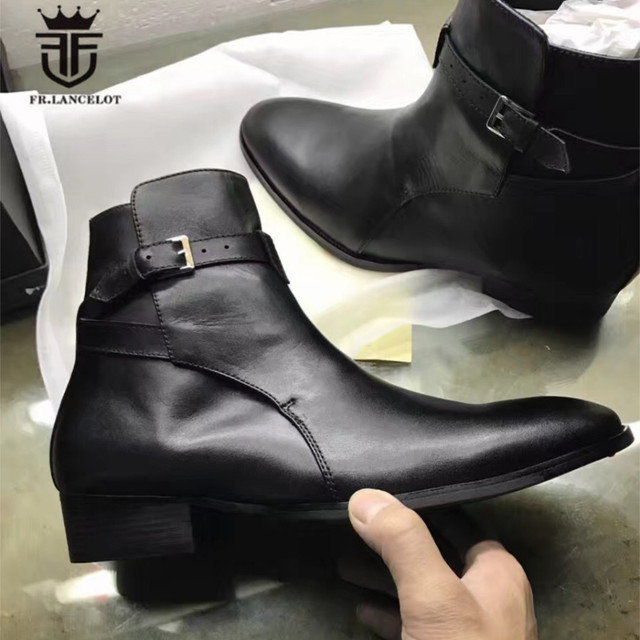 Real Picture Top Quality Handmade MID High Classic Black Cow Leather Ankle Strap Judegur Men Boots Catwalk Men Leather Boots