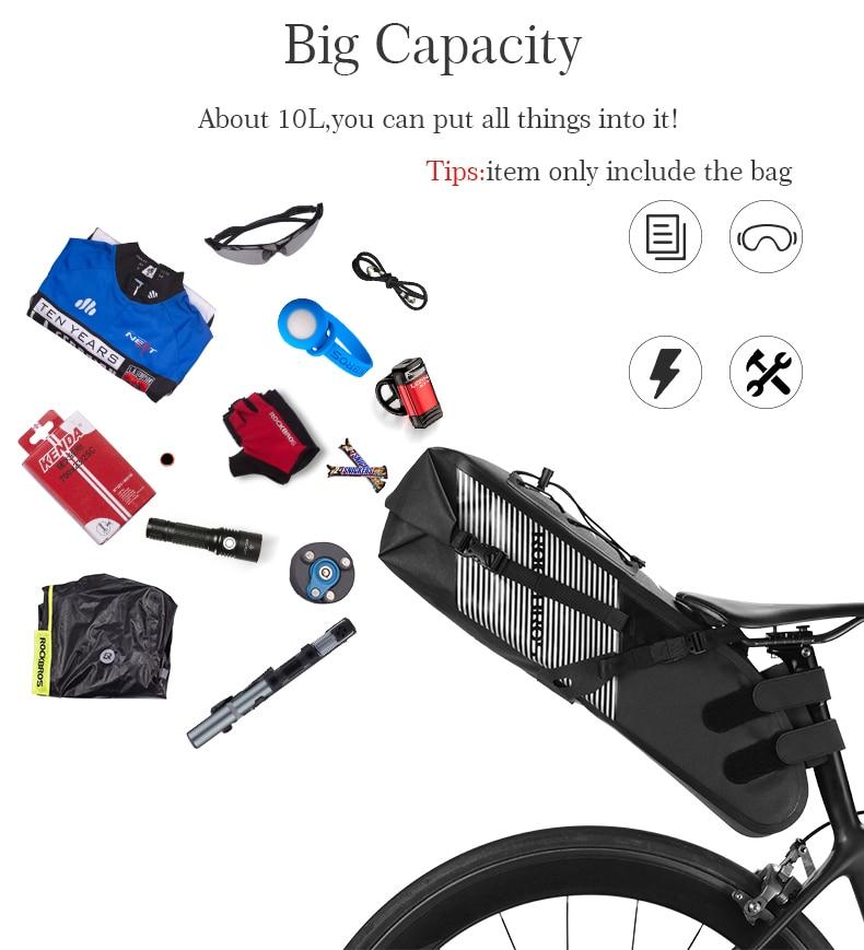Gessence Outdoor Waterproof Bicycle Mountain Bike Back Seat Bag Nylon Saddle Bag Cycling Bike Bag for Bicycles Tail Back Pack Bag
