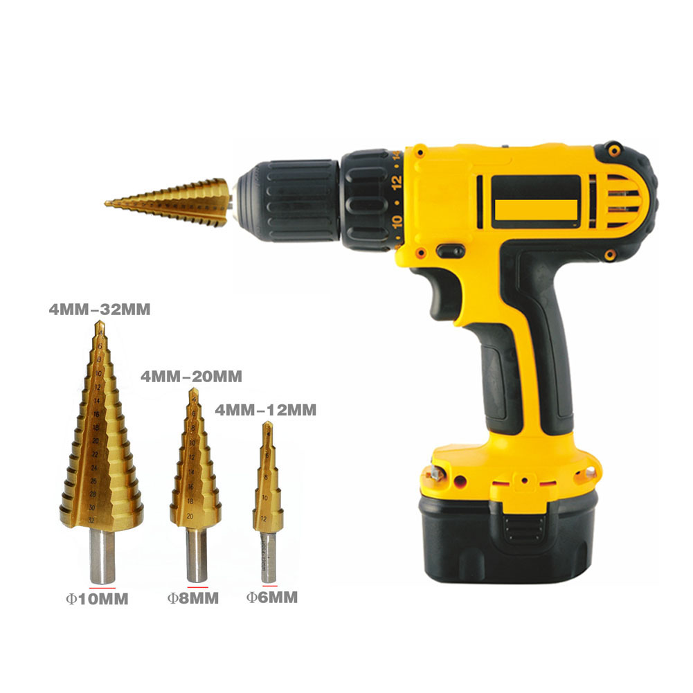3Pcs/set Hss Drill Bit Set for HSS Steel Large Step Cone Hex Shank Coated Metal Drill Bit Cut Tool Set Hole Cutter 4-12/20/32mm g 3pcs set quick change hex shank larger titanium coated m2 tool step drill bit set 71960 t
