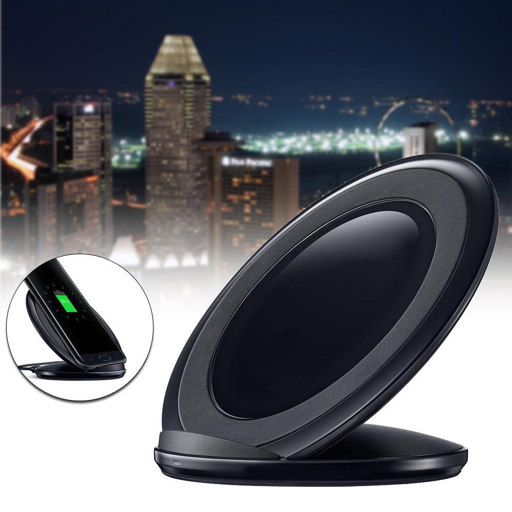 1x Protable Qi Fast Charge Vertical Wireless Rapid Charge Pad Charging Dock Stand For Samsung Galaxy S7 high quality Black