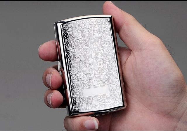 New  – Siver Printed Flower cigarette case hold 12pcs cigarettes Cigarette box /holder