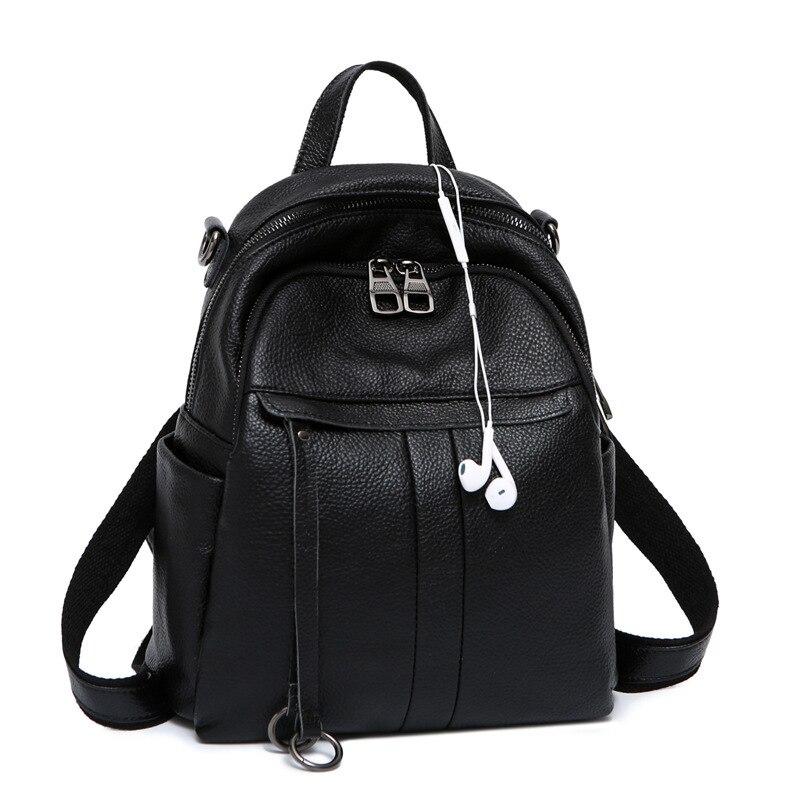 Véritable cuir femmes sac à dos un épaule sacs en peau de vache sac à dos multi-fonctionnel mode femme sac à dos de voyage sac à dos
