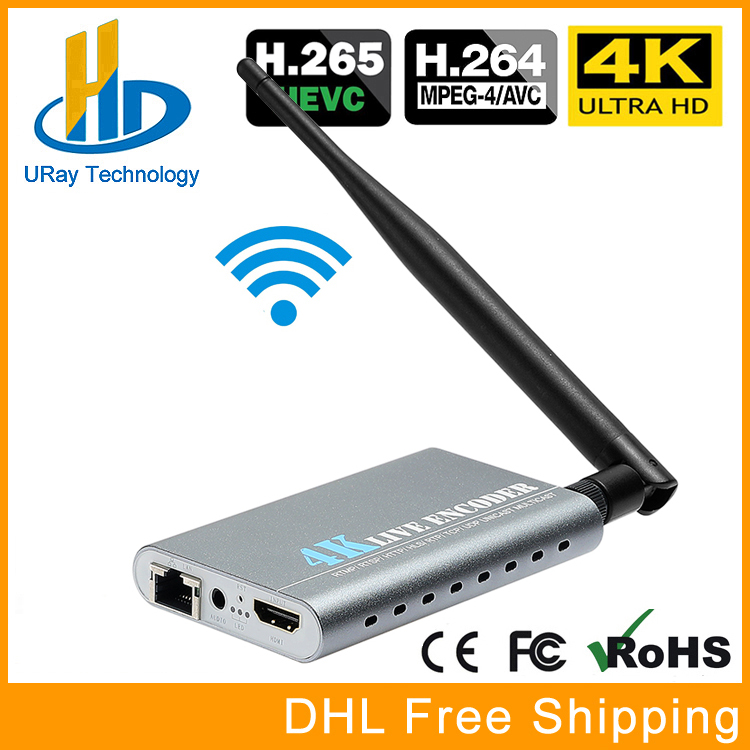 URay Wireless HEVC 4K Ultra HD HDMI To IP Video Encoder H.265 H.264 IPTV Encoder Live Streaming Encoder H265 Server WiFi uray 3g 4g lte hd 3g sdi to ip streaming encoder h 265 h 264 rtmp rtsp udp hls 1080p encoder h265 h264 support fdd tdd for live
