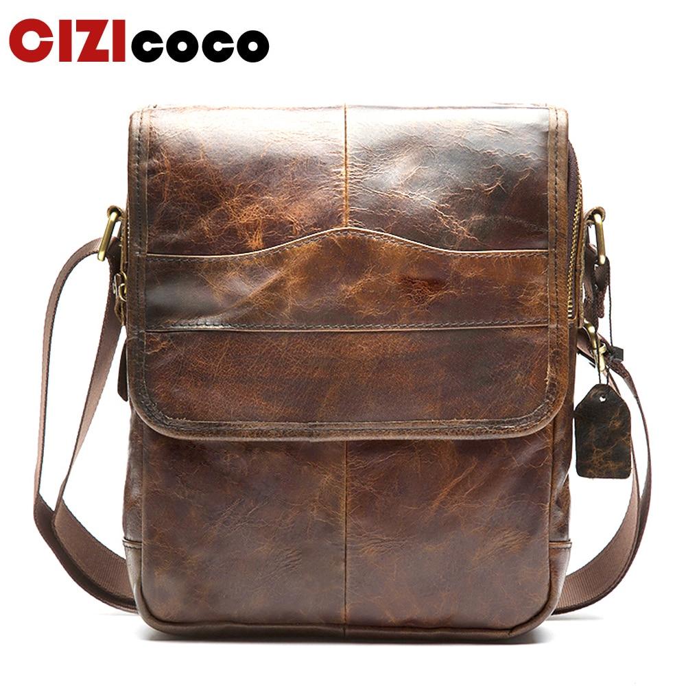 New men s Shoulder Bag Genuine Leather Strap Small Casual Flap Male Man men s Crossbody