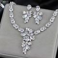 Chapado En Oro Blanco de Hadas de lujo Sparkling CZ Crystal Big Drop Pendientes Y Collar de La Joyería Nupcial de La Boda Para Las Novias J139