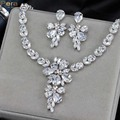 Luxury White Gold Plated Fairy Sparkling CZ Crystal Bridal Wedding Big Drop Earrings And Necklace Jewelry Set For Brides J139