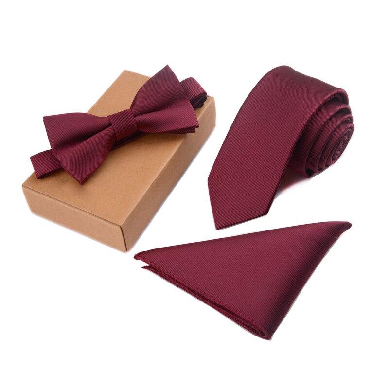 GUSLESON Slim Tie Set hombres Pajarita y bolsillo cuadrado Bowtie corbata pañuelo Papillon Hombre Corbatas Hombre Pajarita