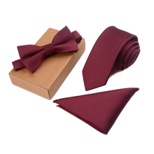 GUSLESON Slim Tie Set Men Bow Tie and Po
