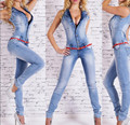 Jumpsuits Bodycon 2016 Lente Vrouwen Diepe V-hals Macacão Jeans Macacões Jeans Volledige Vrouw Broek Macacão Feminino Plus Size XL