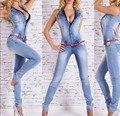 Vrouwen Bodycon Jumpsuits 2016 Lente Diepe V-hals Denim Overalls Jumpsuits Volledige Jeans Vrouw Broek Macacao Feminino Plus XL