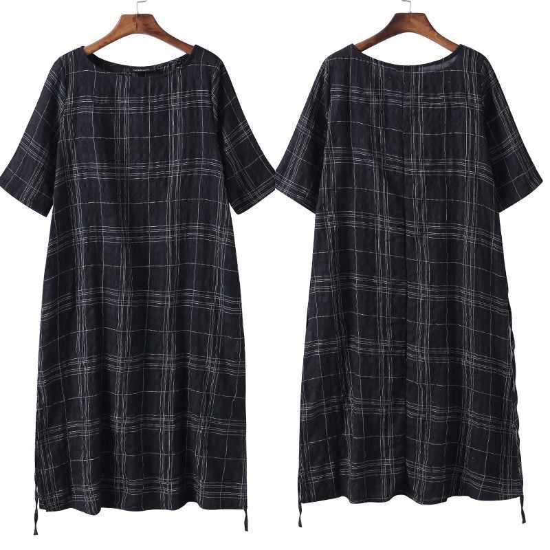 ZANZEA 2019 женское винтажное клетчатое льняное платье летнее платье негабаритная женская одежда Женский Повседневный свободный Сарафан Vestidos S-5XL