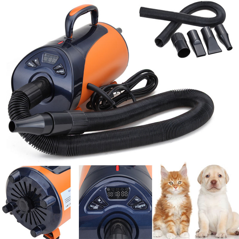 2800W Dog Cat Pet Dryer LED Display 8-step Speed Blaster Blower Heater Dryer