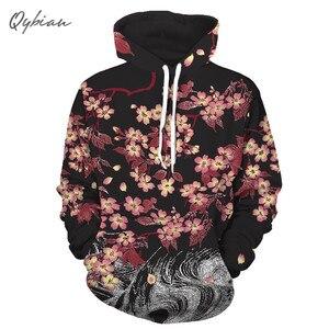 2018 hip-hopowy styl japoński wiśniowe kwiaty męskie 3d bluza z nadrukiem Unisex marka odzież czapka z kapturem swetry na co dzień Streetwear