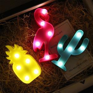 Image 1 - Светодиодный мини ночник с 3D фламинго, табличка с Фламинго/КАКТУСОМ/ананасом, настольные 3d лампы, настенная лампа с Луной, приспособление для домашнего декора, лампа