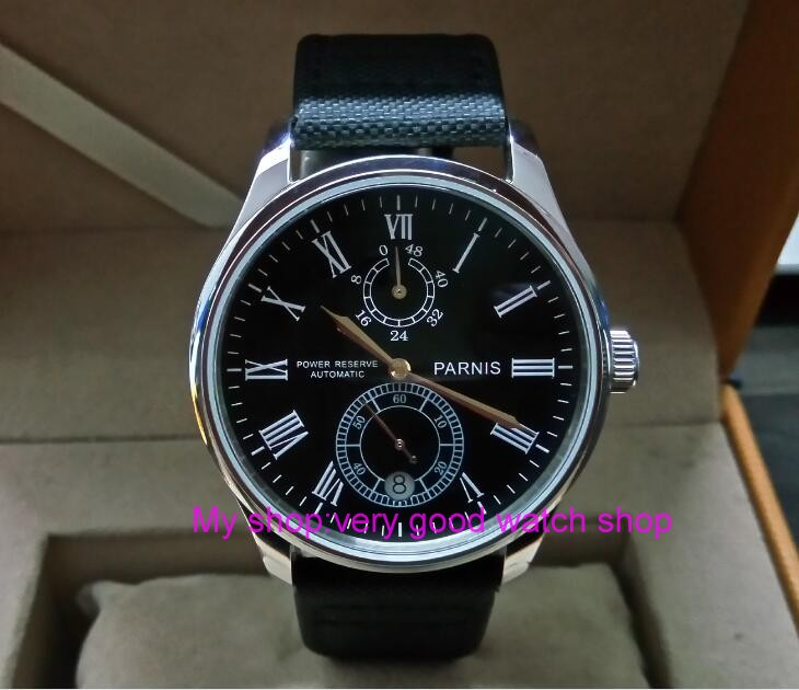 PARNIS 43mm black dial Automatic Self-Wind movement power reserve men's watch Mechanical watches wholesale GL219a sapphire 2017 new fashion parnis 45mm black dial st2557 automatic self wind movement men s watch gmt mechanical watches 291