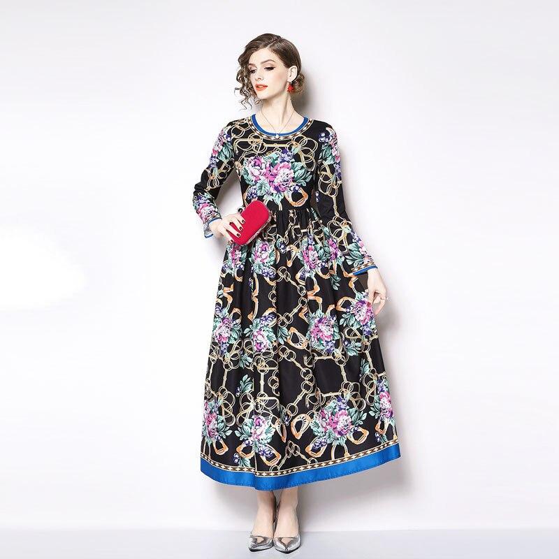 Femmes taille haute Maxi grande balançoire robe Designer de piste automne imprimé fleur robe de soirée élégant O cou longue robe N9100