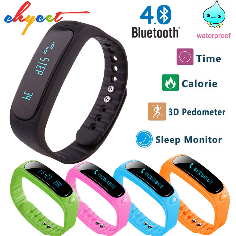 imágenes para Inteligente A Prueba de Agua banda E02 Bluetooth Deporte Pulsera smartband gimnasio rastreador pulsera Pulsera para IOS Android teléfono IP57