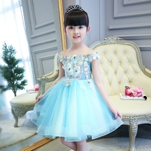2017High Quality Elegant Blue Embroidery Flower Children Girl Dresses for Wedding Kids Ball Gown Evening Birthday Dress 1-15Year