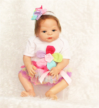 Full Silicone Body Reborn Baby Doll 22 inch 55 cm Newborn baby with Colorful flower fashion Dress Best Children's Christmas Gift