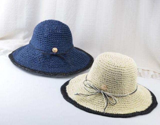 Womens Crochet de Ala Ancha de Paja Sombreros del Cubo Del Verano ...