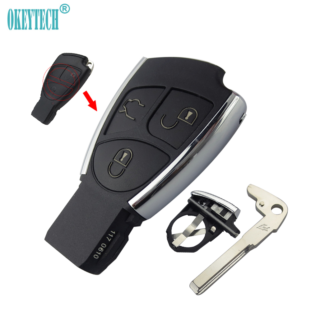 OkeyTech 3 Button for Benz CLS C E ML S CLK CL Modified Remote Auto Car Key Shell Case Fob With Battery Holder and Insert Blade