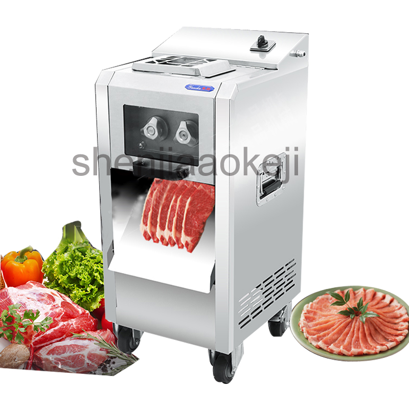 Stainless steel meat slicer commercial electric shredder slicer 220kg/h Automatic multi-function vegetable meat cutting machine 800kg h high grade stainless steel cutting meat slicer machine electric meat slicer vegetable dish machine 110 220v 750w 1pc