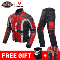 DUHAN Autumn Winter Cold proof Motorcycle Jacket Moto+Protector Motorcycle Pants Moto Suit Touring Clothing Protective Gear Set
