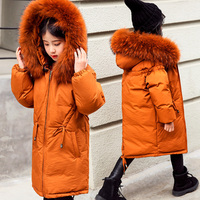Russian Winter Kids Down Coat Snow Wear Big Real Raccoon Fur Long Girls Parkas Outwear Overcoat Thick Warm Children Down Jacket