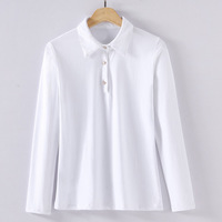 Korean Style New 2018 Spring Womens High Fashion Slim Turn Down Collar Solid Cotton T Shirts Tops Ladies White Tees Wholesale