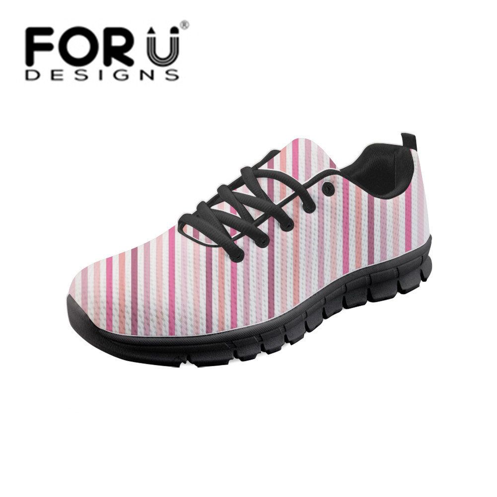 FORUDESIGNS Lady Vulcanized Shoes Pink Striped Graffiti Sneakers Women Lace-up Casual Shoes Breathable Walking Canvas Shoes Flat dagnino women flat lace up breathable trainers casual walking shoes all match white canvas shoes print woman sneakers footwear