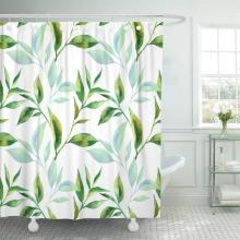 Shower Curtain with Hooks Green Leaf with Tea Leaves Watercolor Blue Graphic Abstract Branch Tree Vintage Beauty Bathroom Decor