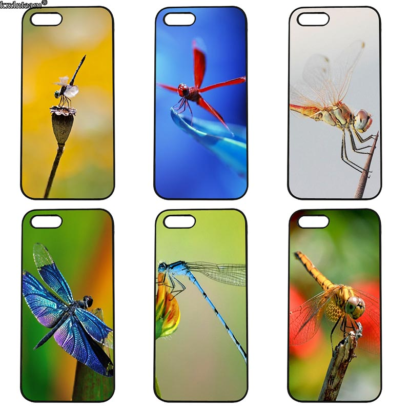 Spring Dragonfly Animal Phone Case Hard PC Half Wrapped Cover Fitted for iphone 8 7 6 6S Plus X 5S 5C 5 SE 4 4S iPod Touch 4 5 6