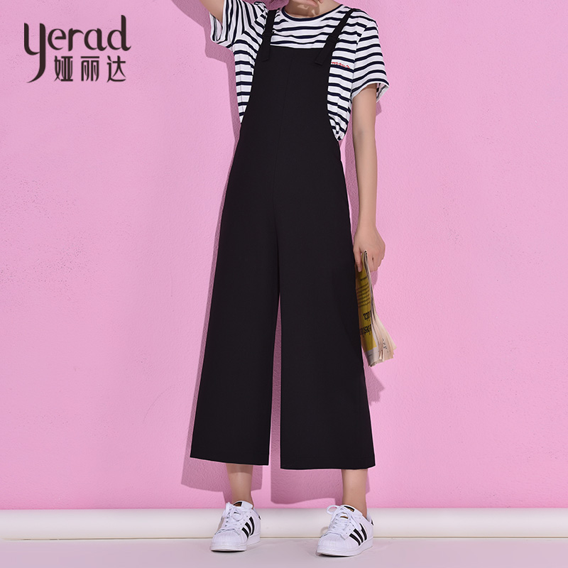 YERAD Womens Jumpsuits Black Loose Female Body Suits Womens Rompers Long Wide Leg Pants Ankle Length Overall
