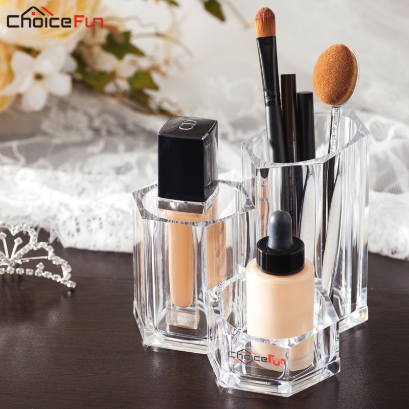 CHOICE FUN Clear Crystal Acrylic Lipstick Mascara Make Up Organiser Stand Plastic Makeup Brush Holder Organizer For Brush