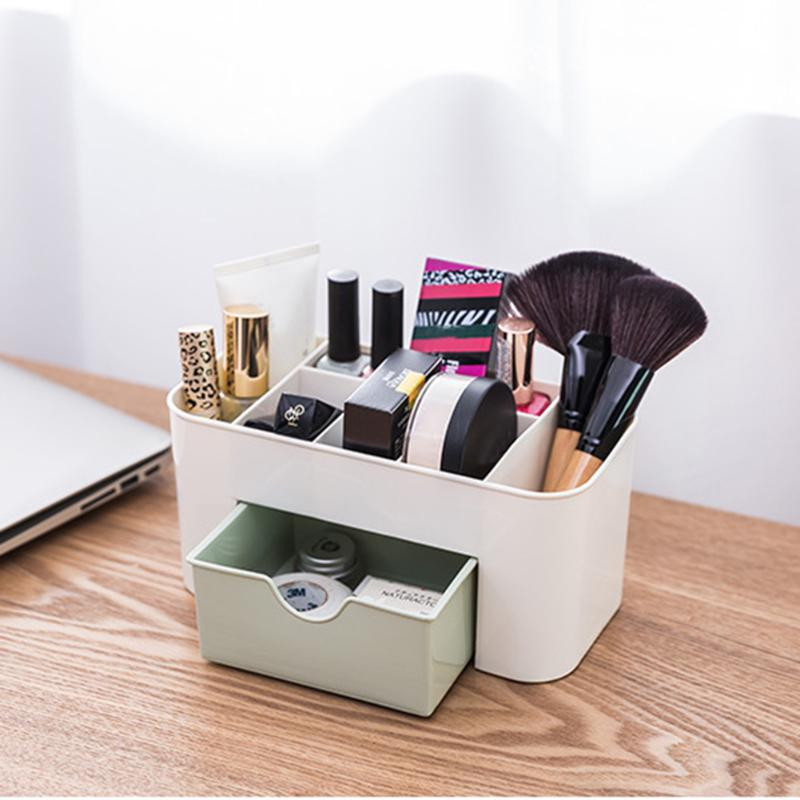Cosmetic Jewelry Organizer Office Storage Desk Makeup Cosmetic Case with Drawer Makeup Brush Box Lipstick Remote Control Holder