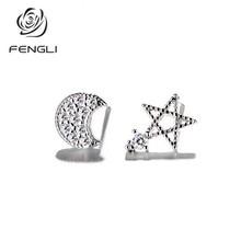 цена на FENGLI 2019 Hot Sale Star Moon Silver Stud Earring Asymmetric Rhinestone Earrings for Women Korean Pendientes Cute Gift