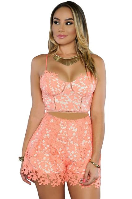 2016 das Mulheres Novas do Verão Sexy Branco Rosado 2 pcs Mulheres Cortar Top Shorts Set LGY62016