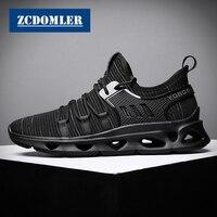 ZCDOMLER Brand Men Black Casual Shoes 2019 Summer White Mens Sneakers Flyknit Footwear Light Chaussure Homme Tenis Masculino