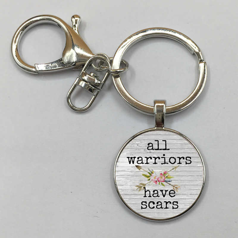 All WARRIORS have SCARS CHARM Pendant,Inspirational charm Keychain,gift for her,Cancer survivor,Warrior charm,with arrow charm