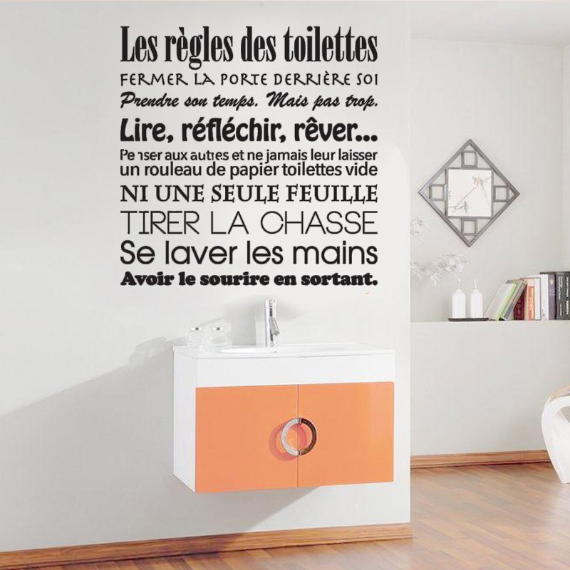 Us 6 48 27 Off French Toilet Rules Wall Stickers Bathroom Wc Decoration Removable Toilet Wall Art Decal Funny Toilet Rules Stickers Az223 In Wall