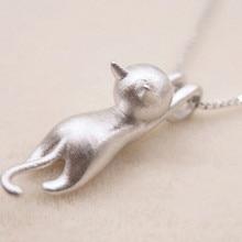 TJP Trendy 925 Sterling Silver Necklace Pendants Women Wedding Party Cute Cat Shaped Choker Necklaces Lady Girl Best A