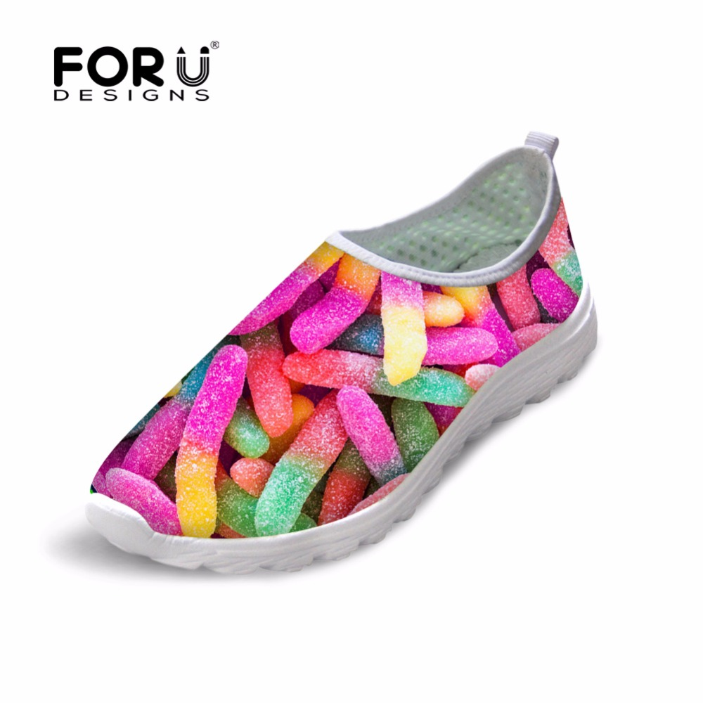 FORUDESIGNS Fashion Candy Color Women Casual Flats Shoes Summer Breathable Mesh Shoes for Ladies Leisure Loafers Female Shoes summer sneakers fashion shoes woman flats casual mesh flat shoes designer female loafers shoes for women zapatillas mujer
