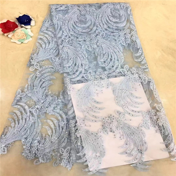VILLIEA African Tulle Lace fabric High Quality African Lace Fabric With Stones Sky Blue French Mesh Laces Material For Women